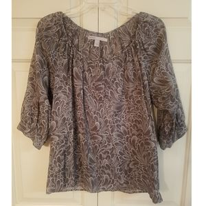 Old Navy gray floral print shirt, size small